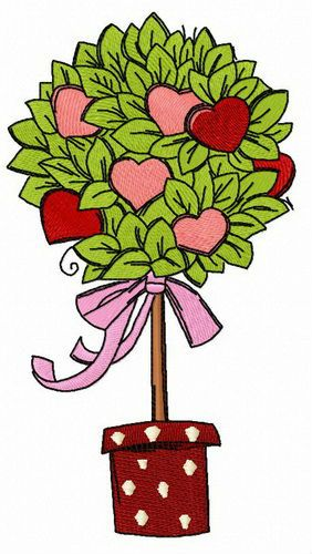 Valentine tree embroidery design