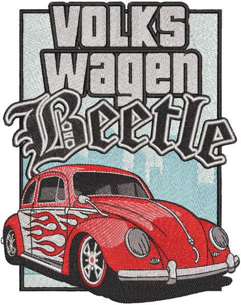Volkswagen beetle car embroidery design