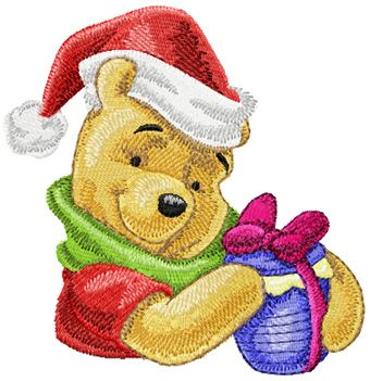 Winnie Pooh with Christmas gift 2 embroidery design