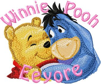 Eeyore and Winnie Pooh machine embroidery design 3
