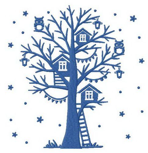 Winter tree embroidery design 2