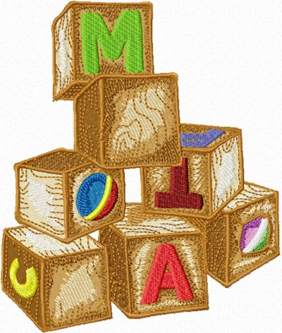 Wooden Toys - Cubes free machine embroidery design