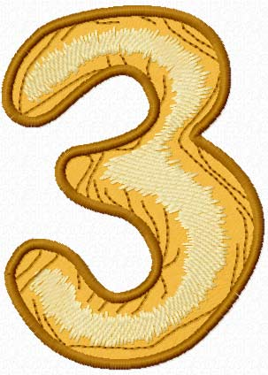 Wooden number three free machine embroidery design