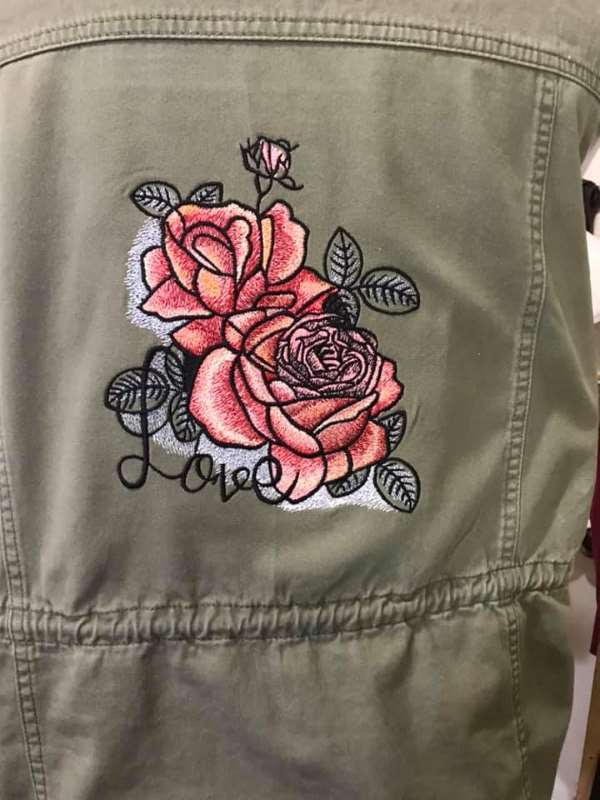 Women's denim jacket with loving rose embroidery design