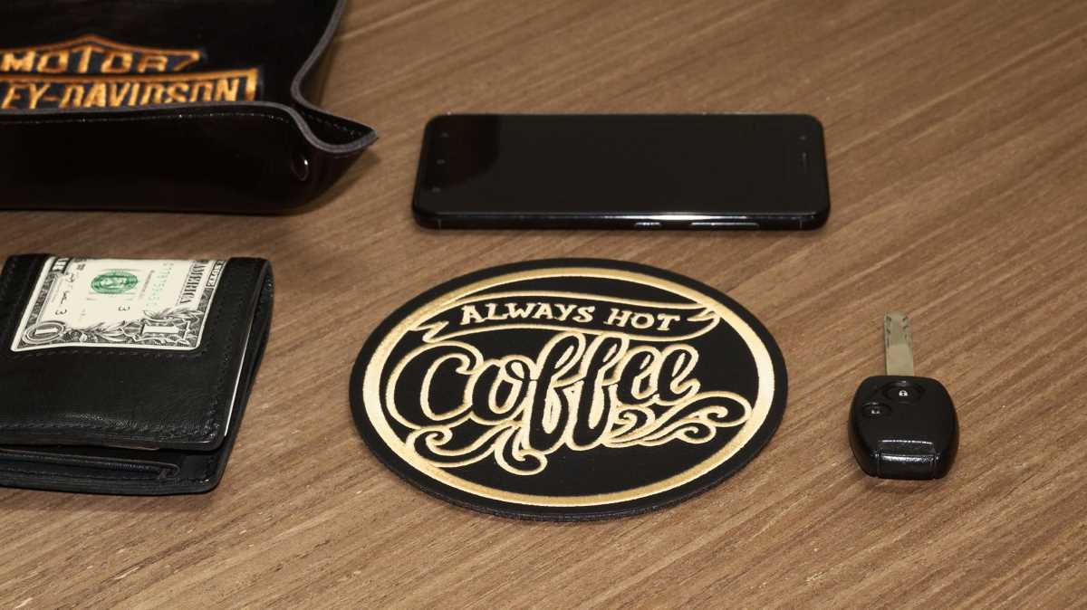 Drink leather coaster with always coffee embroidery design