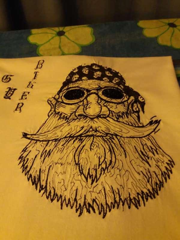 Embroidered biker design