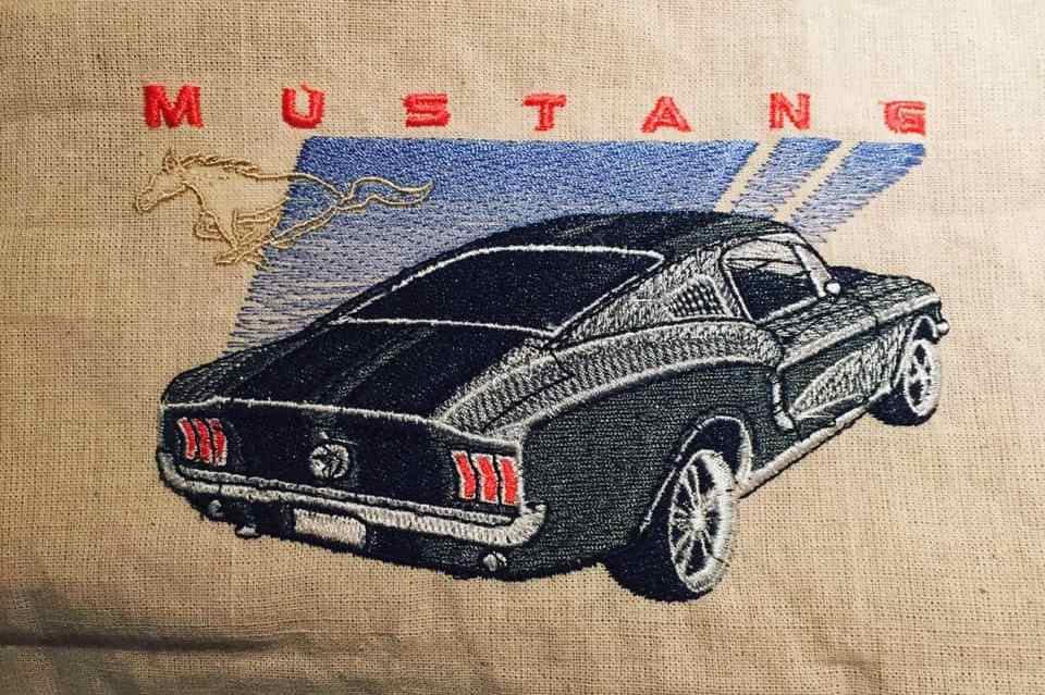 Embroidered mustang car design