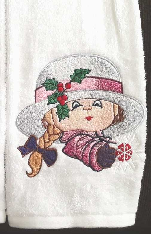 Towel with Vintage Christmas girl machine embroidery design