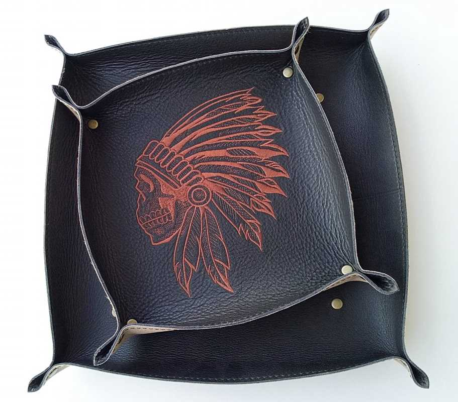 Leather plate with indian skull embroidery design