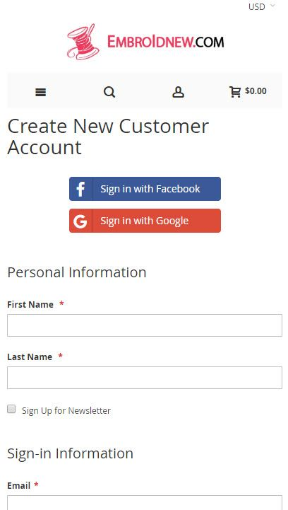 How to sign up mobile view