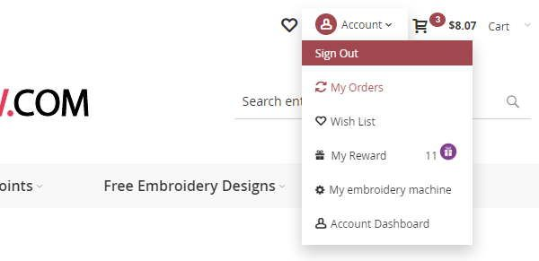 Top menu with dashboard and sign up option