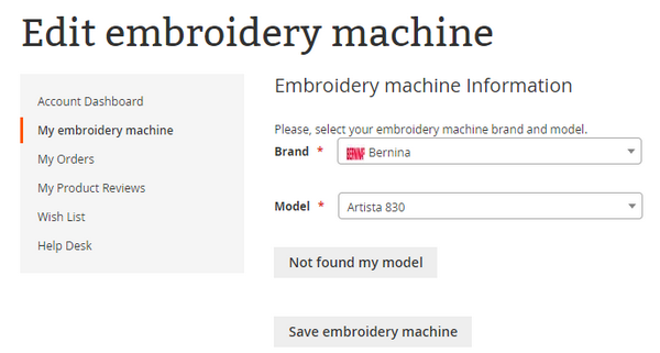 Edit embroidery machine information