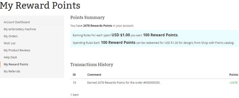 Reward Points Summary