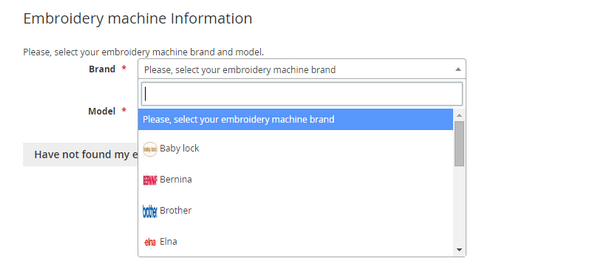Embroidery machine information