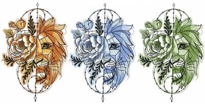 Color variants for lion embroidery design