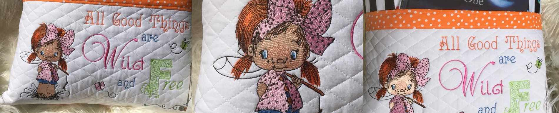 Little cute girls embroidery collection